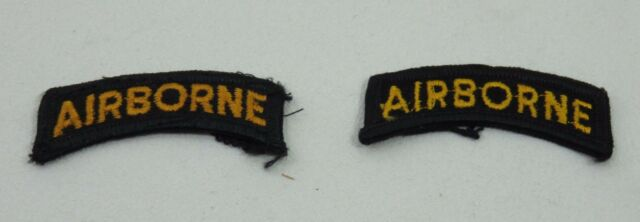 US  Army Military Patch set AIRBORNE Black & Gold set of 2