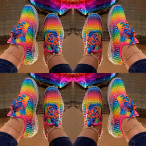 Womens-Rainbow-Lace-Up-Sneakers-Gym-Sports-Running-Trainers-Casual-Shoes-Size