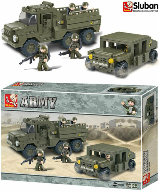 Sluban Service Troops Military Army Truck Lorry Jeep Toy Model Block Brick B0307