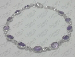 925-Sterling-Silver-Multi-Gemstone-Amethyst-Bracelet-Faceted