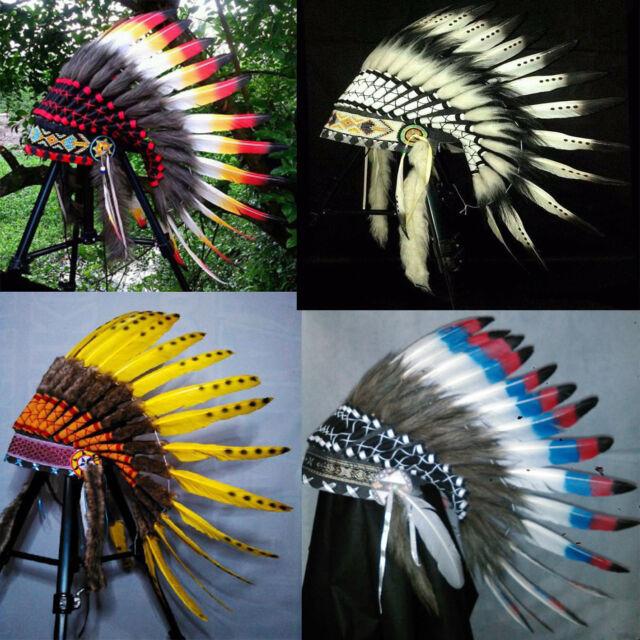 Short Native American Indian Headdress Costume War Bonnet