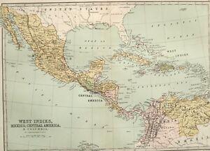 Details about 1875 ANTIQUE MAP WEST INDIES MEXICO CENTRAL AMERICA JAMAICA  CUBA HAITI HONDURAS