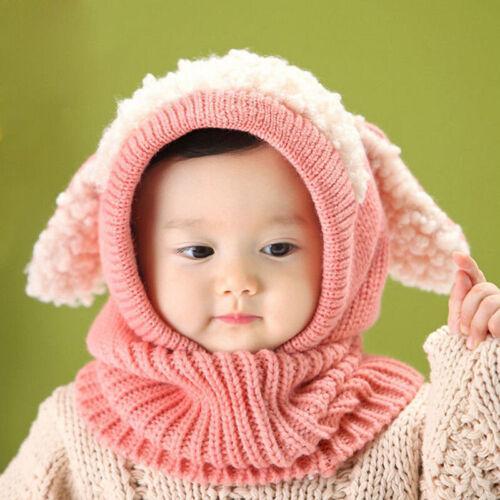 Kids Girls Boys Toddler Baby Winter Warm Hat Hooded Scarf Earflap Knitted Cap UK
