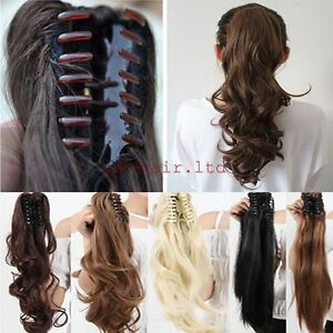 Real thick jaw claw clip in ponytail extension hair piece blonde image is loading real thick jaw claw clip in ponytail extension pmusecretfo Choice Image