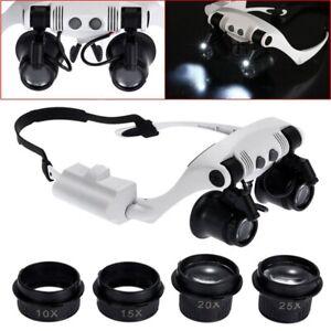 Headband-LED-Magnifying-Glass-Headlamp-Microscope-Jewelry-Watch-Repair-D9K8