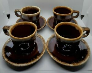 Set-of-4-Vintage-Hull-Brown-Drip-Cup-Mug-and-Crestone-Saucer-D-Handle