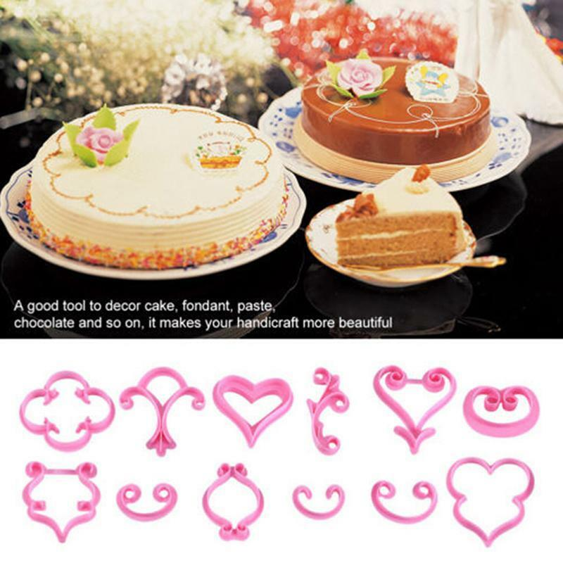 12Pcs Lace Heart Cake Cookies Pastry Fondant Cutter Embossed Decorating Mold DIY