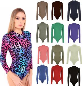 New Plus Size Womens Turtle Neck Bodysuit Ladies Long Sleeve Polo Leotard 8-26