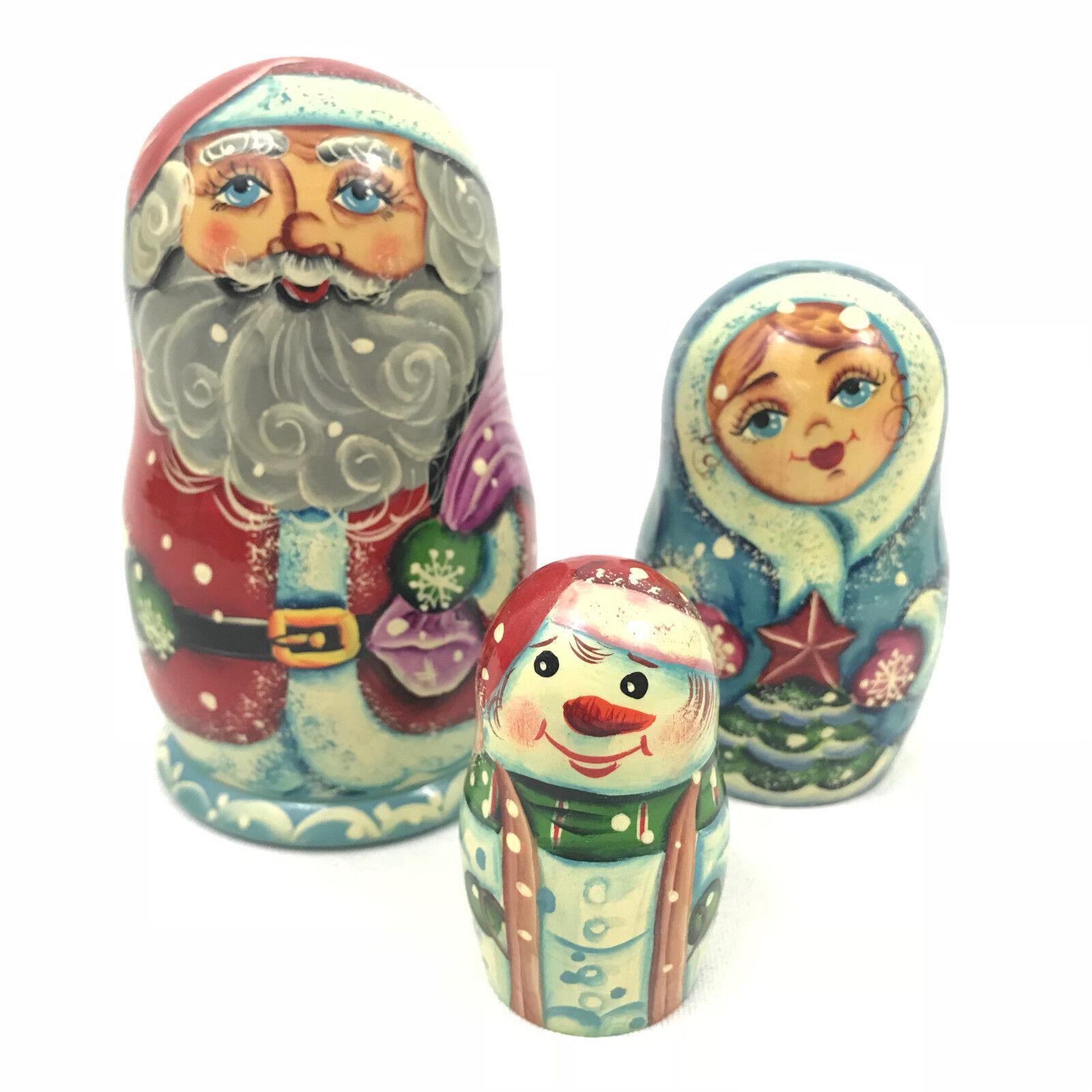 G. Debrekht MATRYOSHKA Nesting Dolls Navidad Santa Rusia Juego de 3