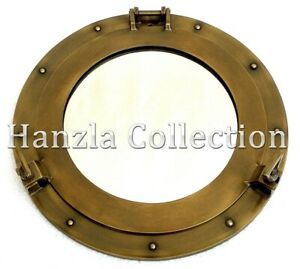 Antique-Brass-Porthole-Window-Maritime-Nautical-Ship-Port-Mirror-Wall-Decor-12-034