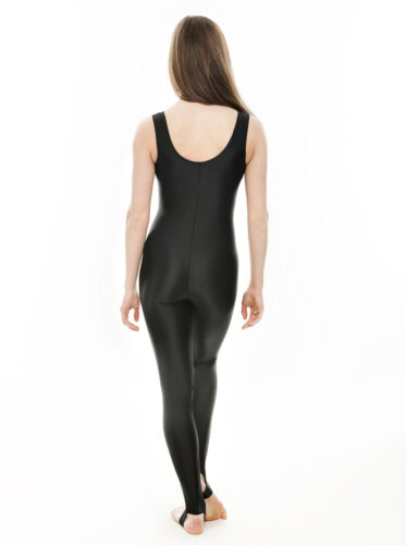 Black Shiny Dance Halloween Cat Women Witch Fancy Dress Unitard Catsuit KDC011