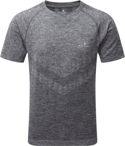 Ronhill Infinity Marathon Mens Short Sleeve Running Top Grey Slim Fit Seamless