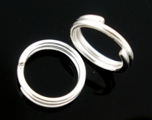 8mm Silver Plated Double Loop Split Rings 100 x 10  12 14 16mm 5 6 7 200 x 4