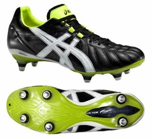 6c0fa7b0f Asics Lethal Tigreor 8K ST Onyx White Flash Yellow Rugby Boots UK 8 ...