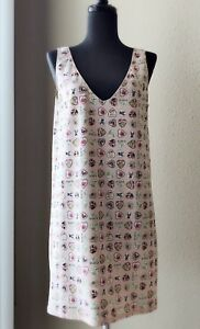 CHANEL-Authentic-Icon-Stretch-Heart-V-Neck-Dress-Pink-Size-40-US-8-Rare