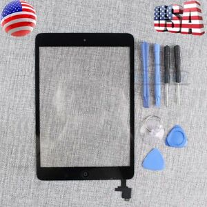 Black-For-iPad-Mini-1-2-Touch-Screen-Panel-Glass-Digitizer-IC-Home-Button-Tool