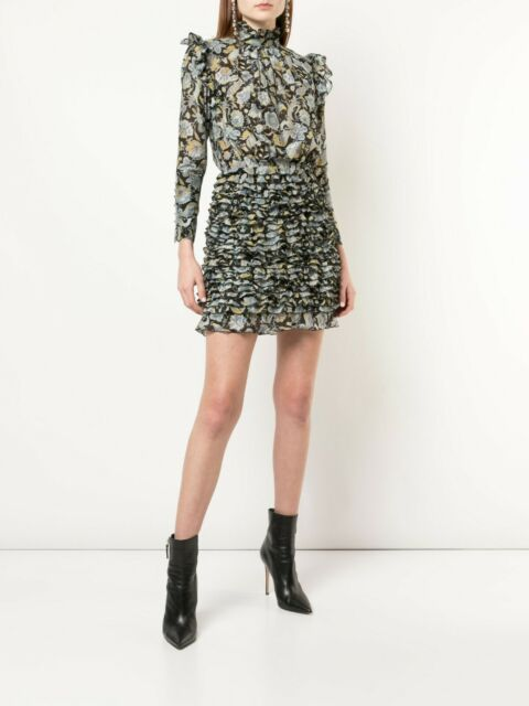 ROBERT RODRIGUEZ Nikita Floral Print Ruffle Turtleneck Dress (Size 12) NWT $595