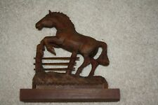 Large Vintage Brown Wood Carving Jumping Fence Horse Sculpture Art, Home Decor