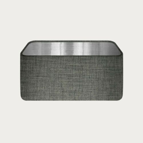 Rounded Rectangle Lampshade Charcoal Grey Textured Woven Fabric Brushed Silver