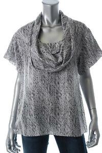 New-HUGO-BOSS-Gray-100-Silk-Print-Cowl-Neck-Short-Sleeve-Blouse-Shirt-Top-sz-6