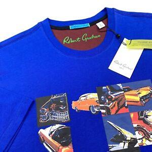 Robert-Graham-Vintage-Classic-Cars-Graphic-T-Shirt-Blue-Mens-Sizes-L-2XL-89