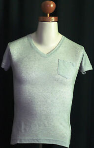 034-Re-Rock-034-Herren-T-Shirt-Slim-Fit-grau-meliert-kurzarm-V-Ausschnitt-S-44-48-neu