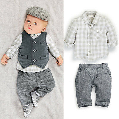 New Newborn baby boy Grey Waistcoat + Pants + Shirts clothes sets Suit 3PCS
