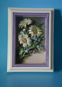 Vintage-1973-Shadow-Box-Picture-Frame-with-Artificial-Flower-Motif-5-034-x-7-034