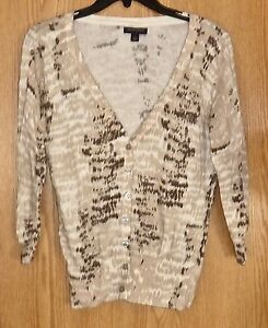 BANANA REPUBLIC - TAN/WHITE/BROWN REPTILE-PRINT CARDIGAN SWEATER ...