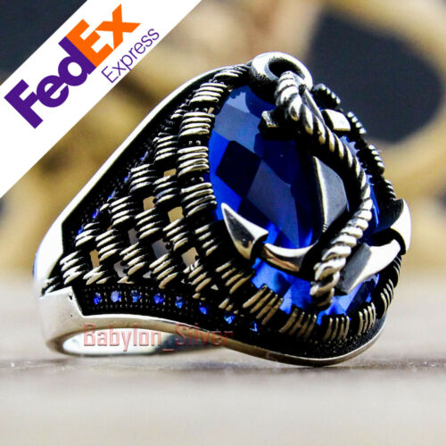 925 Sterling Silver Sapphire Stone Turkish Handmade Anchor Men/'s Ring All Sizes