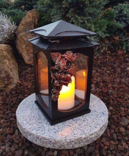 Grablaterne Sockel Grablampe Lampe Grableuchte Grablicht Grabschmuck Rosen Kerze