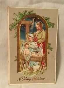 Antique-Christmas-Postcard-A-MERRY-CHRISTMAS-Holy-Family