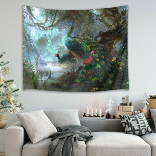 Hole Peacock Scenery Tapestry Wall Hanging for Living Room Bedroom Dorm Decor