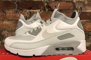 Nike-Air-Max-90-Ultra-Mid-UK9-US10-EU44-Weiss-Platin-Grau-924458-100-Stiefel