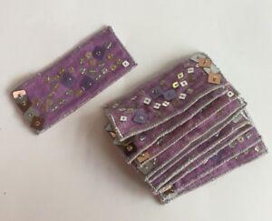 Pack De 10-argent, Violet à Sequins/perles Fabrication Carte Artisanat Art Motif #17r104-afficher Le Titre D'origine