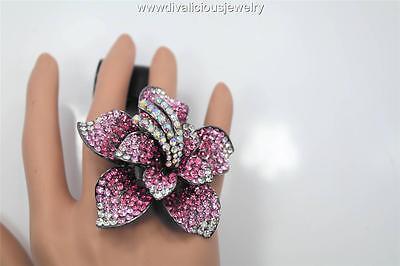 Crystal Fiora Flower Bling Diva Ring - 6 Colors