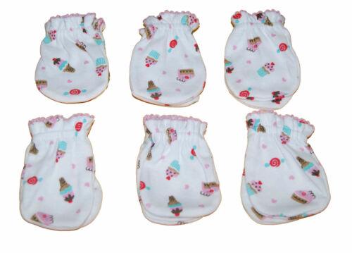 6 Pairs Newborn Baby/infant Anti-scratch Cotton Mittens Gloves---Little Cupcake