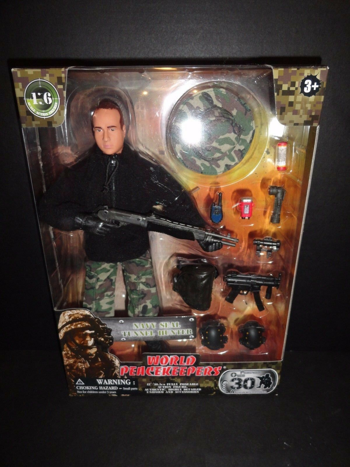 WORLD PEACEKEEPERS NAVY SEAL TUNNEL HUNTER 12  MILITARY ACTION FIGURE   NEW