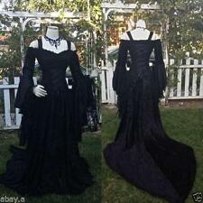 Vintage Black /White Gothic Wedding Dresses A Line Medieval Long Sleeve Custom