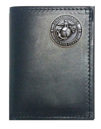Custom Black Harness Leather Tri-fold Wallet Made in USA