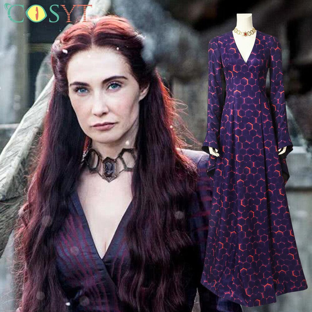 Melisandre Costume Halloween Cosplay Party Long Dress Full Set for Women Free