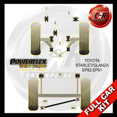 For Toyota Starlet//Glanza Turbo PowerFlex Black Rear Beam Mounting Bush