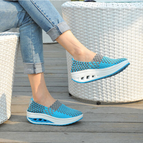 Women Running Walking Fitness Toning Shoes Platform Wedge Sneakers Creeper Shoes