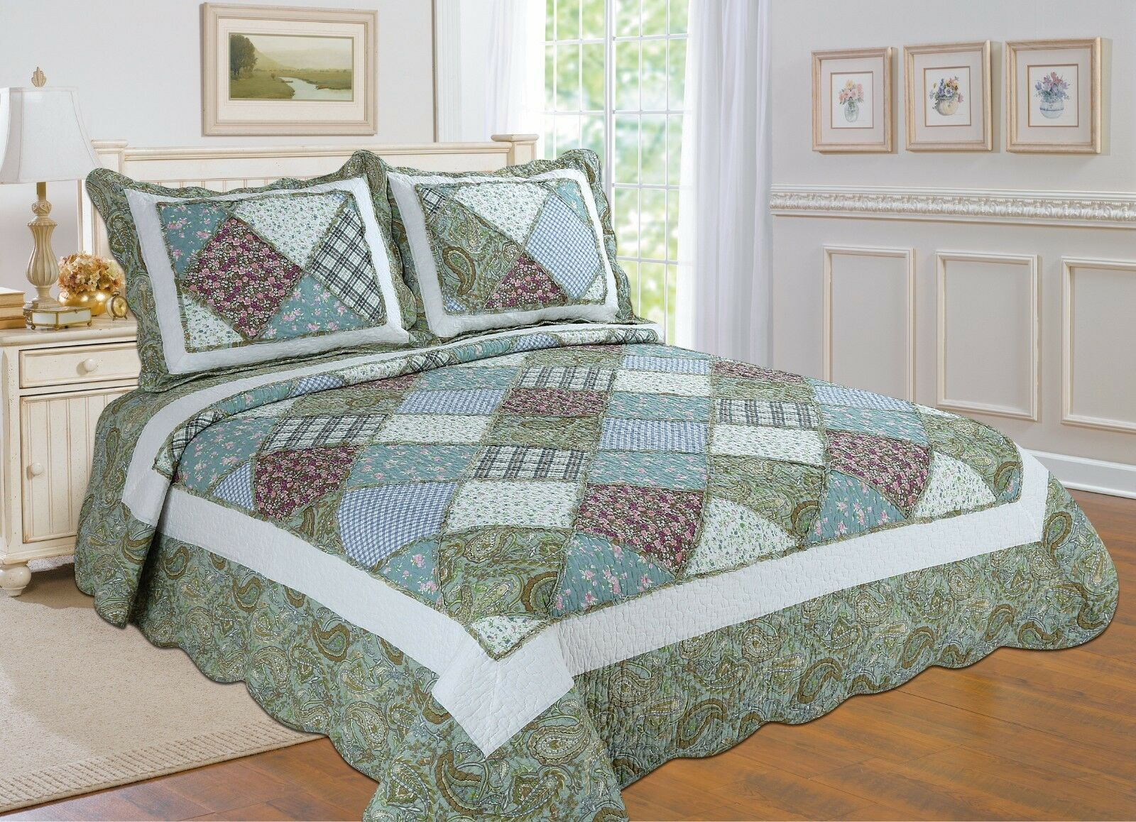93-All For You 3PC 100% COTTON quilt set, coverlet, bedspread- 3 Sizes
