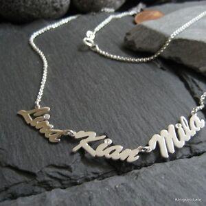 Namenskette mit 3 Namen nach Wunsch aus 925er Silber mit 3 Zirkonia, 44 cm