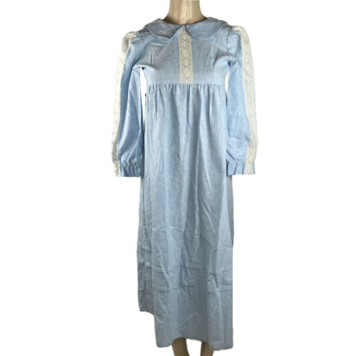 1960s Vintage Dress Big Girls Mod Blue White Lace