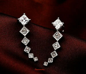 White-Gold-Filled-Silver-Made-with-Swarovski-Crystal-Two-Way-Wear-Ear-Cuff-IE54