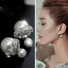 Simple Fashion Women Crystal Rhinestone Double Sided Pearl Ball Ear Stud Earring