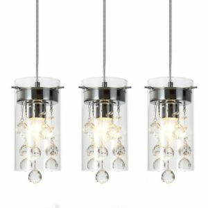 Details about Pendant Light Set Fixture Crystal Mini Chandelier Glass  Hanging Kitchen Island 3