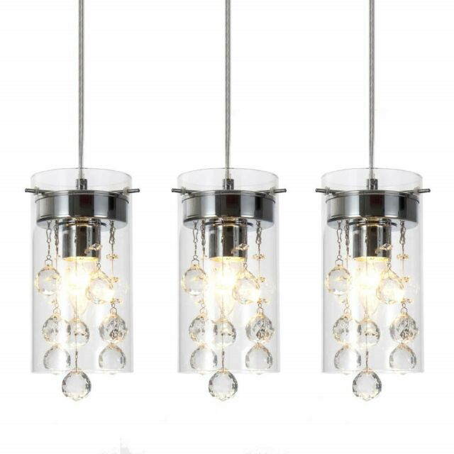 Pendant Light Set Fixture Crystal Mini Chandelier Glass Hanging Kitchen  Island 3